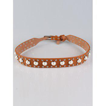 Faux Pearl Studs Insert Wide Belt - BROWN