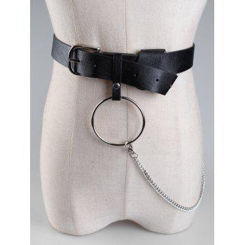 Large Hoop Chain Wide Pin Buckle Belt - BLACK