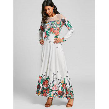 Floral Printed Mesh Panel Maxi Dress - WHITE M