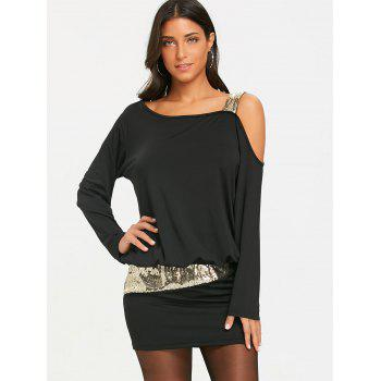 Sequins Long Sleeve Cold Shoulder Blouson Dress - BLACK M