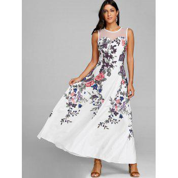 Floral Print Mesh Insert Maxi Dress - WHITE XL