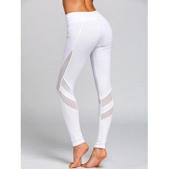 High Rise Mesh Panel Workout Leggings - WHITE M