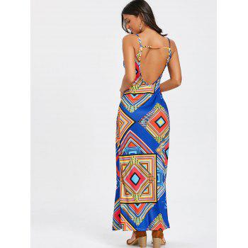 Backless Geometric Print Cami Strap Maxi Dress - BLUE L