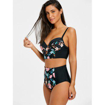 Floral Bustier High Waist Bikini Set - BLACK XL