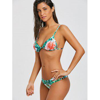 Strappy Floral String Bikini Swimsuit - GREEN S