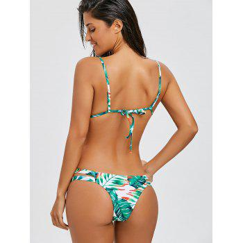 Strappy Floral String Bikini Swimsuit - GREEN L