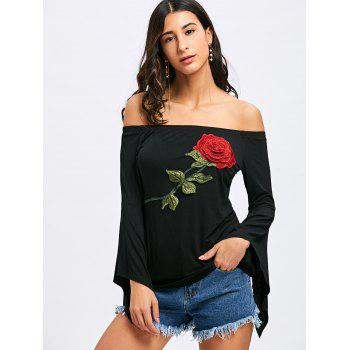 Off The Shoulder Floral Embroidery T-shirt - BLACK 2XL