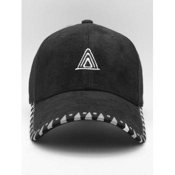 Triangle Embroidered Faux Suede Baseball Hat - BLACK