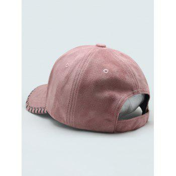 Triangle Embroidered Faux Suede Baseball Hat - PINK