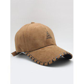 Triangle Embroidered Faux Suede Baseball Hat - COFFEE