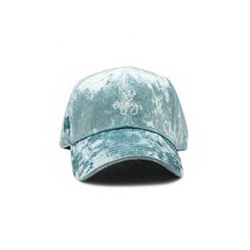 Yoy Crown Embroidered Velvet Baseball Hat - AZURE