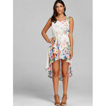 Sleeveless Floral Print High Low Dress - OFF WHITE M