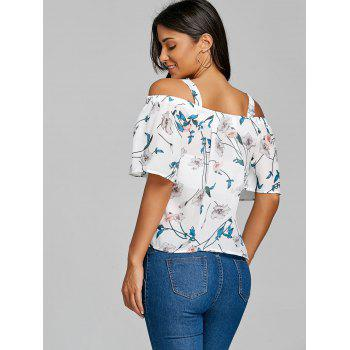 Chiffon Floral Open Shoulder Blouse - WHITE ONE SIZE