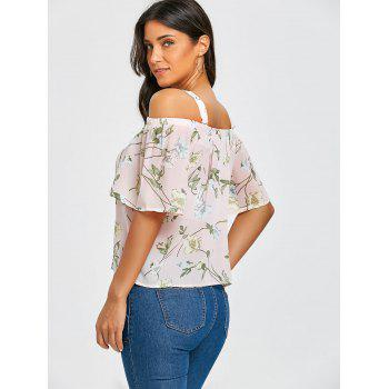 Chiffon Floral Open Shoulder Blouse - PINK ONE SIZE