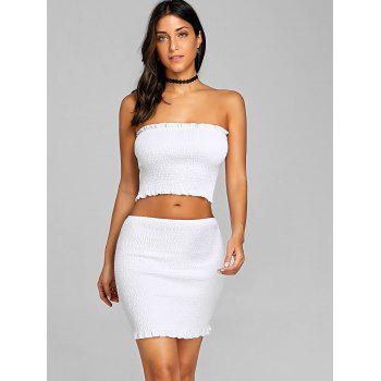 Ruffle Shirred Two Piece Dress - WHITE L