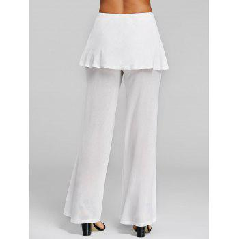 High Rise Lace Up Skirted Palazzo Pants - WHITE M