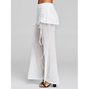 High Rise Lace Up Skirted Palazzo Pants - WHITE XL
