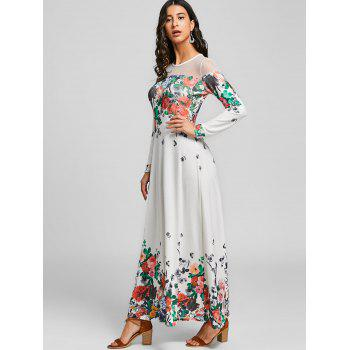 Floral Printed Mesh Panel Maxi Dress - WHITE XL