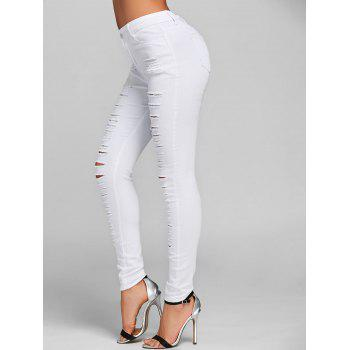 Ripped Jeans with Pockets - WHITE S