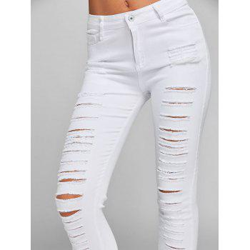 Ripped Jeans with Pockets - WHITE XL