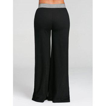 Color Block Wide Legged Pants - GRAY L