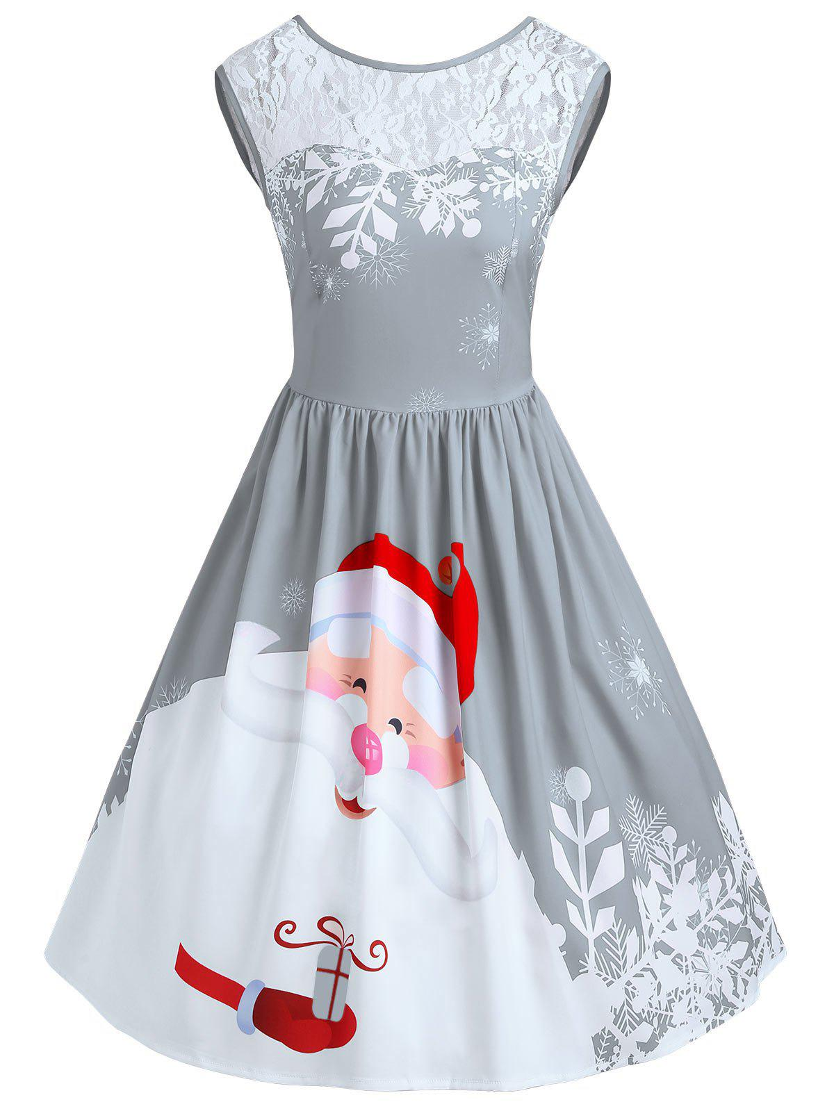 2018 Christmas Lace Insert Santa Claus Print Party Dress FROST S In ...