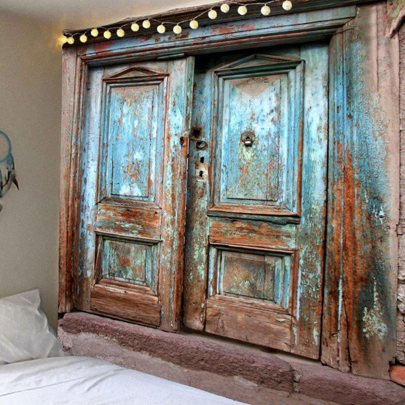 Vintage Wooden Door Print Wall Hanging Waterproof Tapestry   BLUE W91 INCH  * L71 INCH