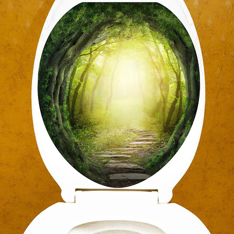 Bath Decor Dreamy Forest Pathway Printed Toilet Sticker - GREEN 12.6*15.4 INCH