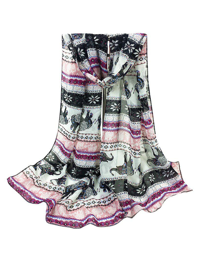 Jumping Elephant Pattern Embellished Silky Long Scarf - PINK