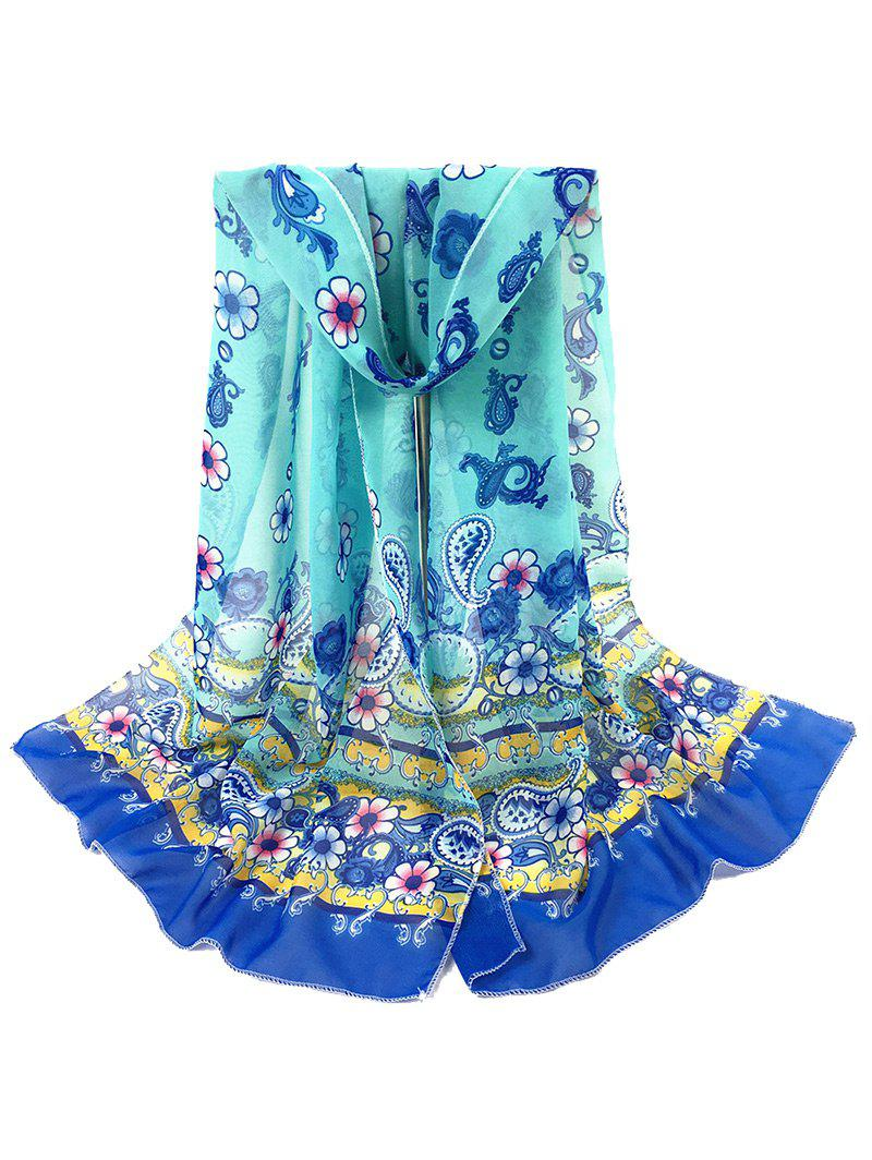Vintage Cashew Pattern Decorated Sheer Scarf - BLUE