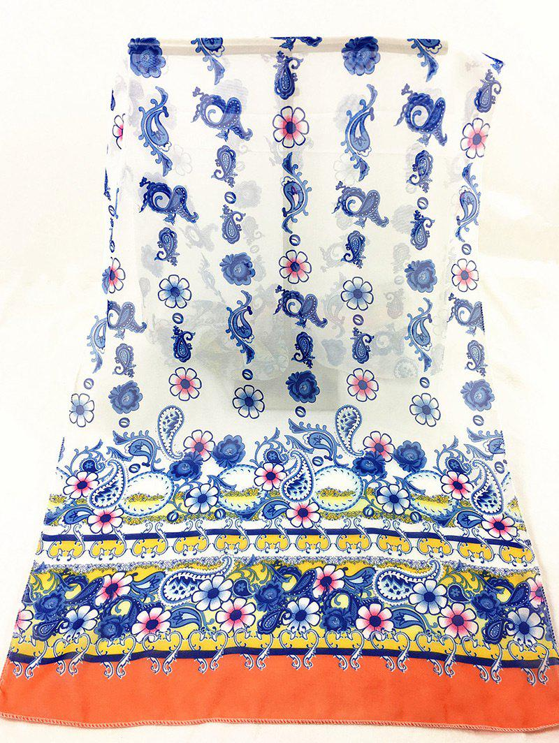 Vintage Cashew Pattern Decorated Sheer Scarf - WHITE