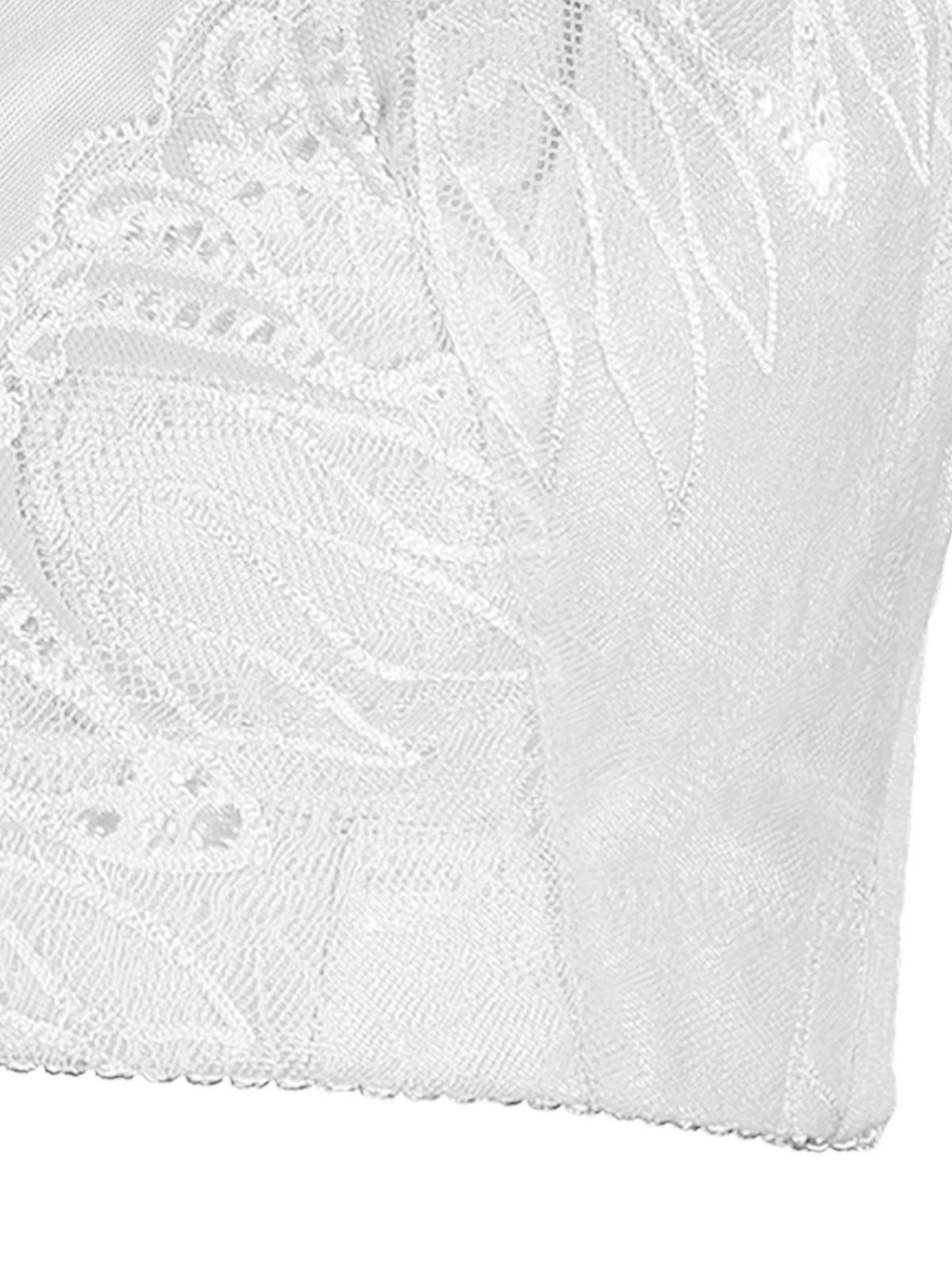 Lace Insert Underwire Plus Size Bra - WHITE 6XL
