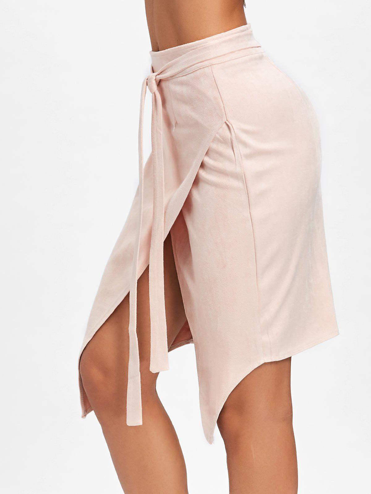 High Waisted Asymmetrical Wrap Skirt - CAMEO M