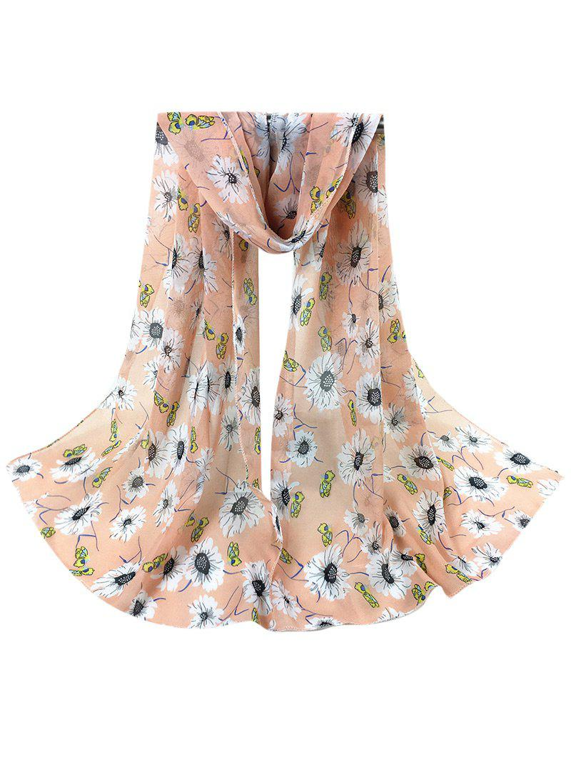Vintage Chrysanthemum Pattern Embellished Long Scarf - LIGHT PINK