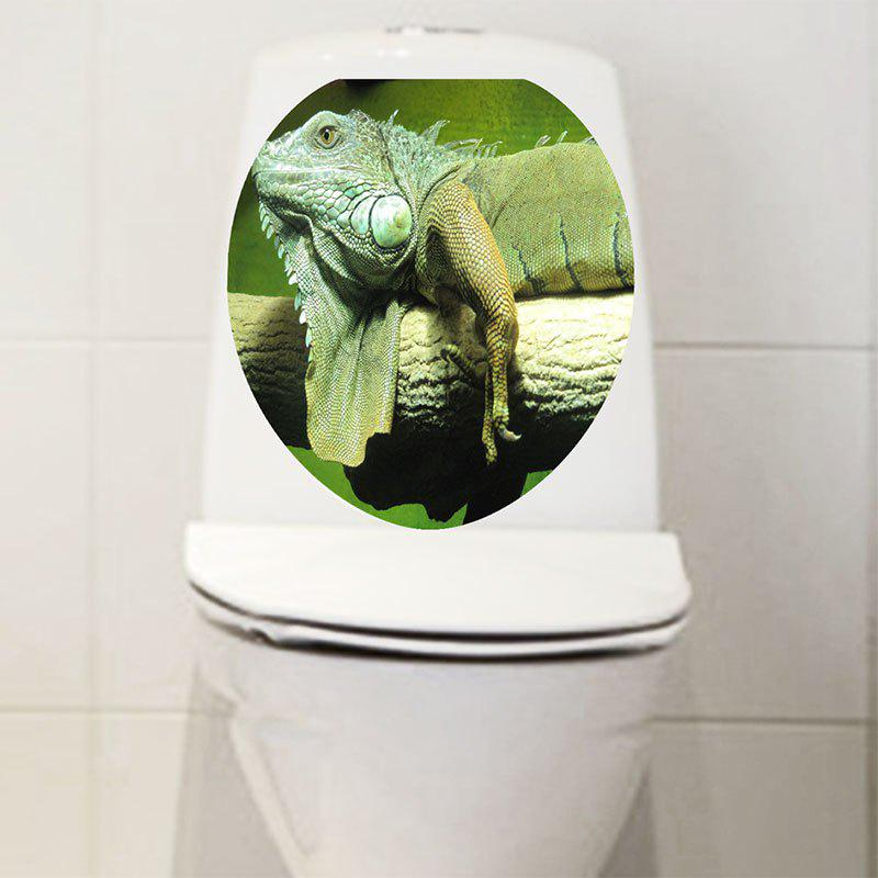 Chameleon Printed Decorative Toilet Sticker - GREEN 12.6*15.4 INCH