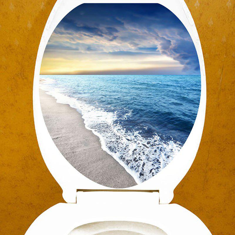 Beach Waves Sunrise View Toilet Seat Cover Decorative Stickers - BLUE 12.6*15.4 INCH