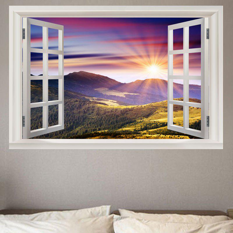 Window mountain sunrise printed removable environmental wall sticker colorful w20 inch l27 5