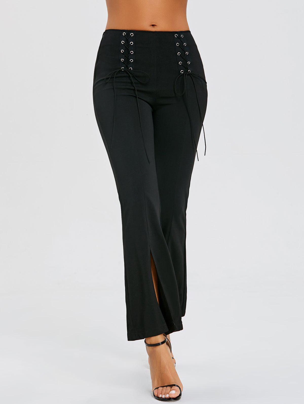 Lace Up Slit High Waisted Bell Bottom Pants - BLACK S