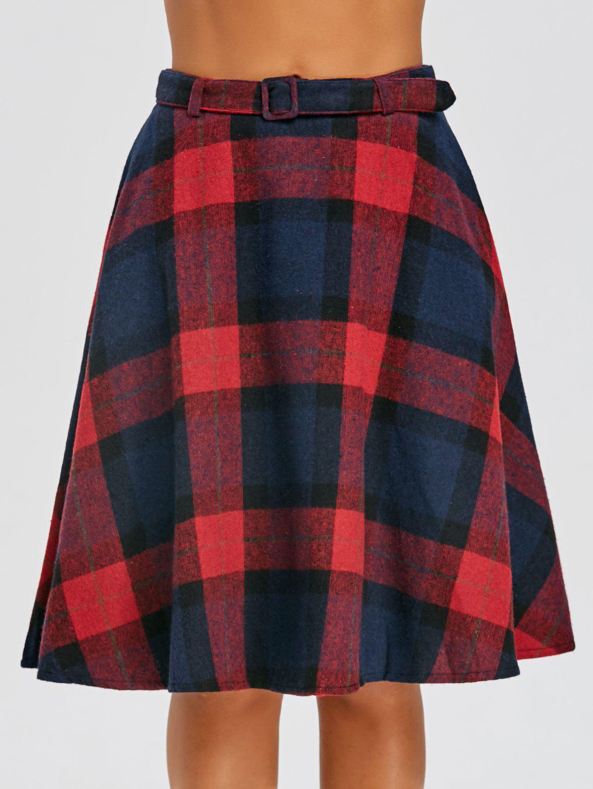 Plaid High Waisted A Line Skirt - RED S