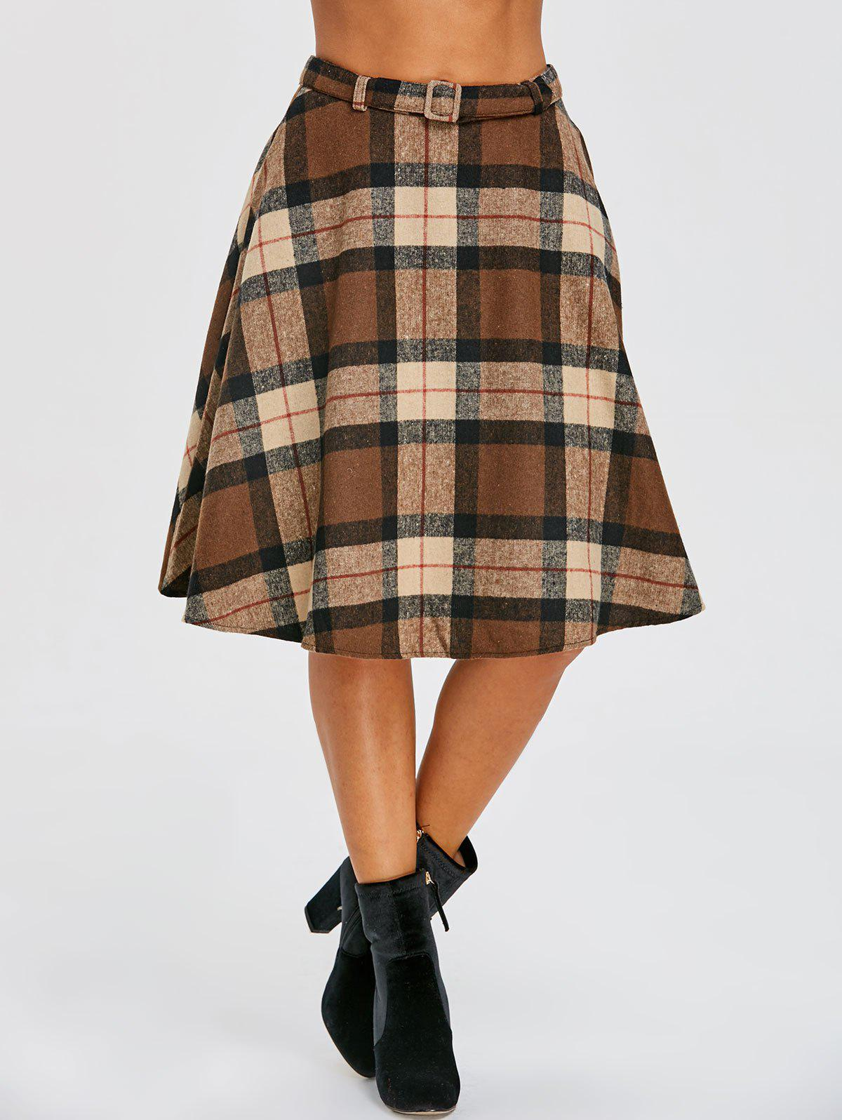 Plaid High Waisted A Line Skirt - DARK KHAKI L