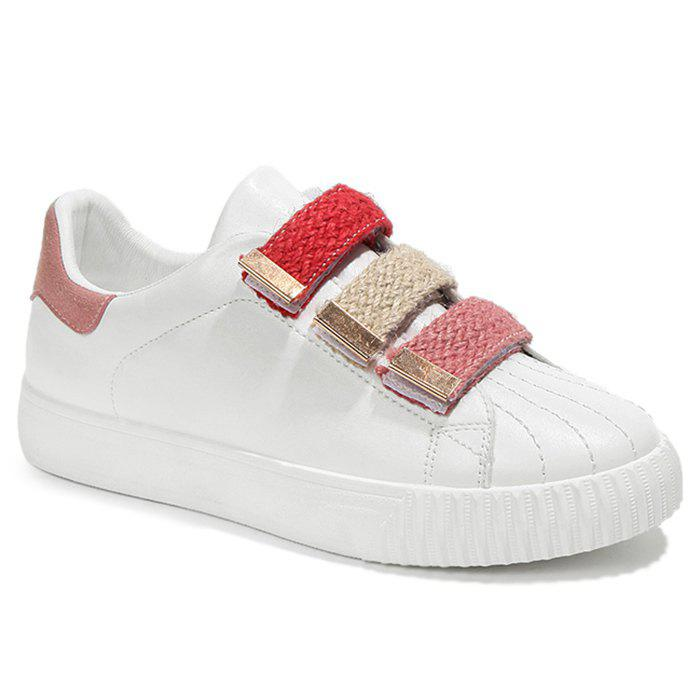 Stitching Color Blocking Skate Shoes - PINK 39