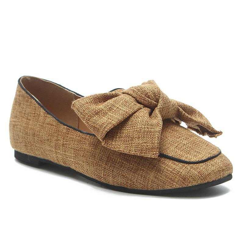 Flat Heel Bowknot Loafers - BROWN 36