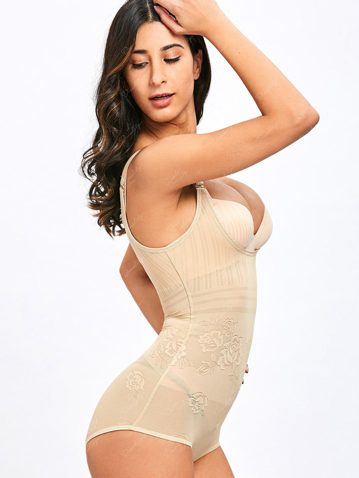 Adjustable Strap Floral Body Shape Corset - YELLOWISH PINK L