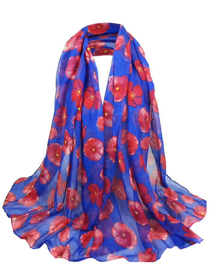 Vintage Blooming Floral Pattern Sheer Scarf - ROYAL