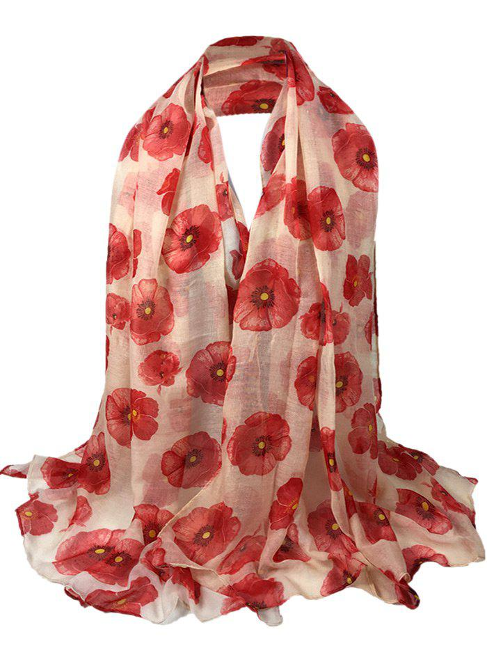 Vintage Blooming Floral Pattern Sheer Scarf - LEATHER PINK