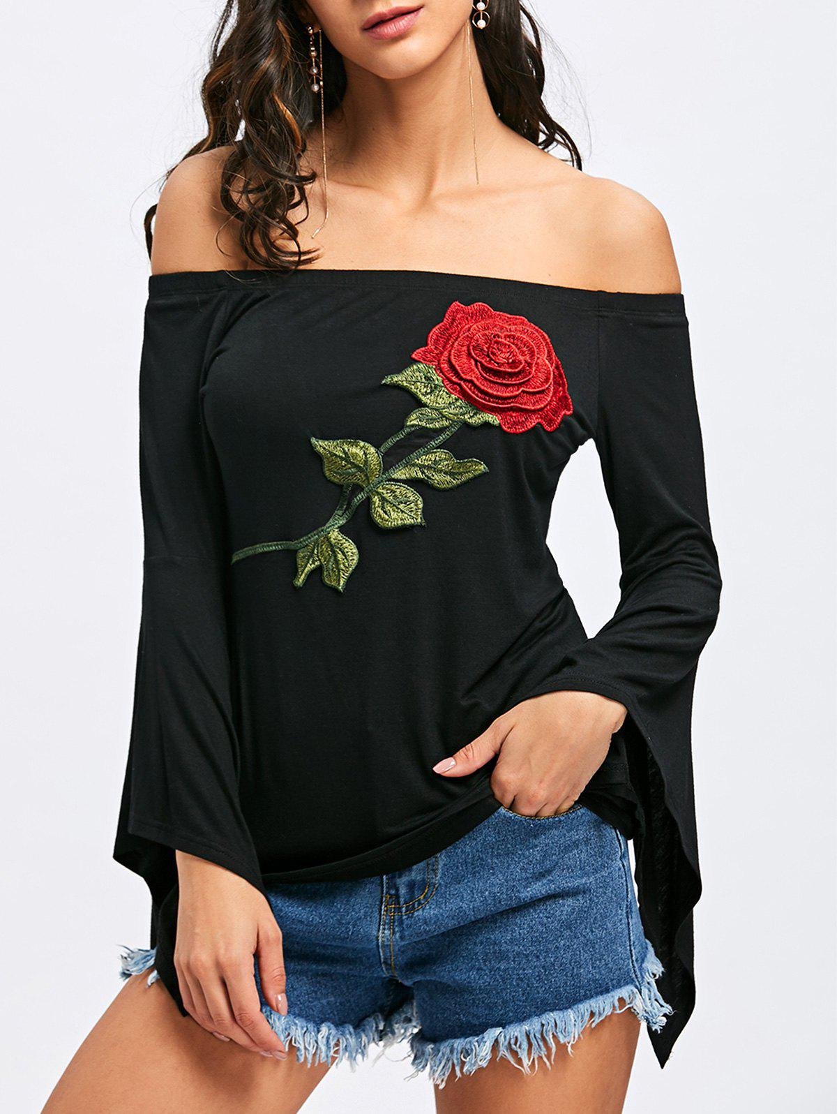 Off The Shoulder Floral Embroidery T-shirt - BLACK XL
