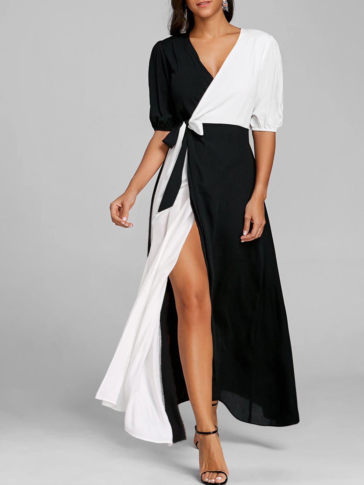 Color Block Puff Sleeve High Slit Maxi Dress - WHITE/BLACK 2XL