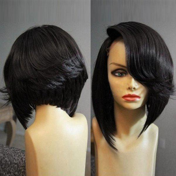Medium Flip Deep Side Parting Straight Inverted Bob Synthetic Wig - BLACK
