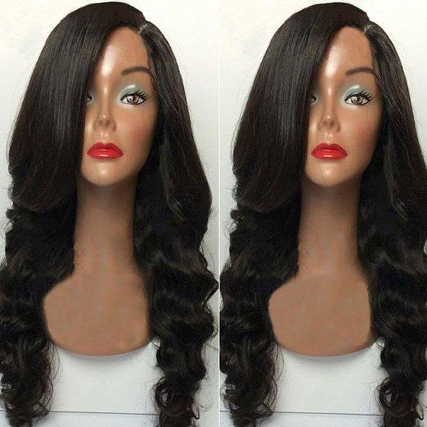 Long Side Parting Body Wave Capless Synthetic Fiber Wig - BLACK