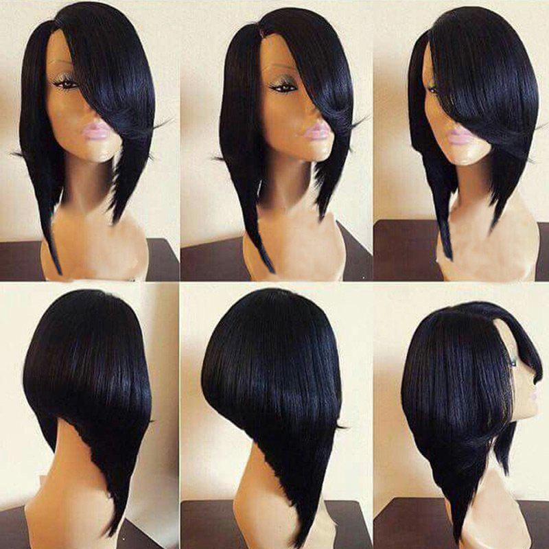 Medium Flip Side Parting Straight Inverted Bob Synthetic Wig - BLACK